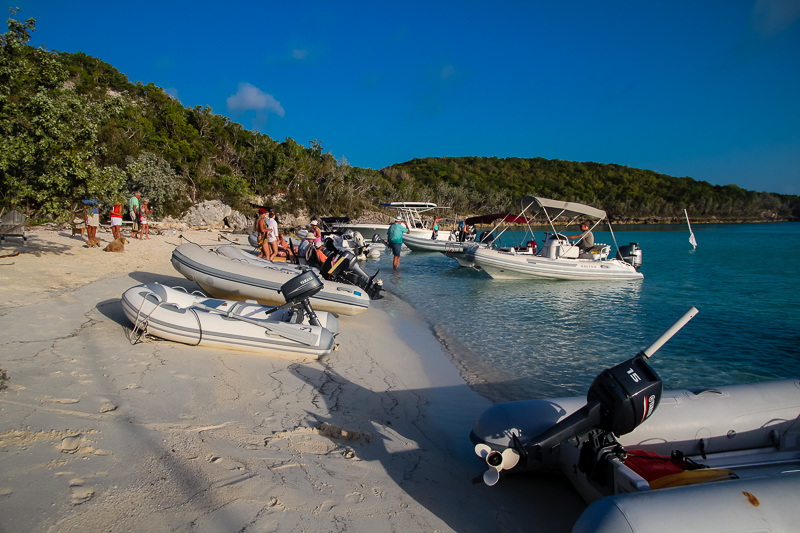 Cruiser gatherings on the beach were a highlight of our time in Staniel Cay.